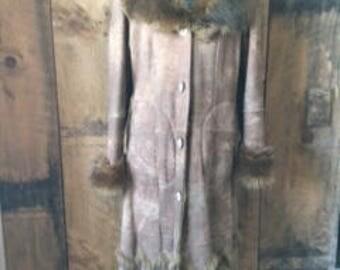 Vintage Wilson's Leather Suede Fur Long Coat