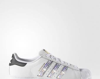 crystal Adidas Superstar Bling Shoes with Swarovski Crystals Women's Running Shoes White Black