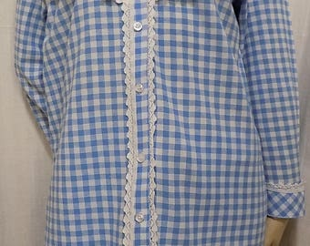 Shirt long sleeves cotton gingham and white lace