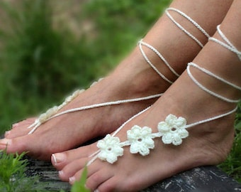 Beach Wedding Barefoot Sandals, Bridesmaid Gift, Crochet Barefoot Sandals, Bridal, Wedding Foot Jewelry, Beach Wedding Shoes