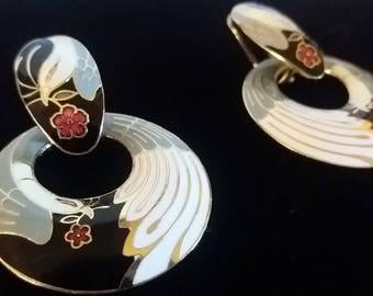 Vintage Chinese Swan Earrings goldtone metal enamel stud  back