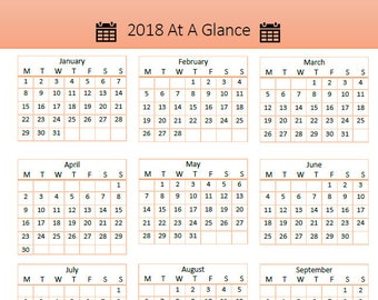 2018 At A Glance Printable