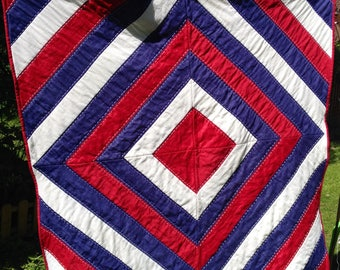 Patchwork Quilt, handmade quilt, red white and blue, wedding gift