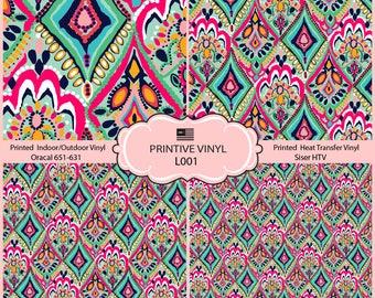 Lilly P Inspired Crown Jewels Pattern Printed Vinyl, Siser HTV , Oracal 631-651, Indoor Vinyl, Outdoor Vinyl, Heat Transfer Vinyl- L001
