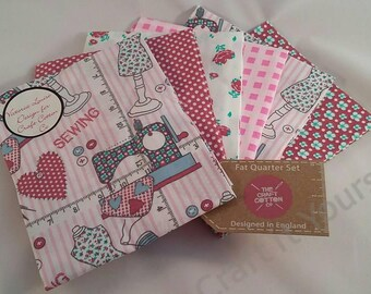 Just Sew Fat Quarter Pack / Bundle 100% Cotton Pink, soft colours stitch