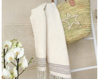 Very large towel, Fouta in Egyptian cotton 195 x 90 cm