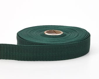 "Polypropylene webbing, 1"" Wide, 10 yds, Dark Green"
