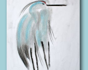 Sketch of two herons Heron one next to the other