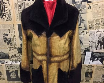 "Rare Original 1970s Leather Jacket with Sheepskin Shearling Trim and Faux Fur Lining by Adam and Eve Size 42"" Large"