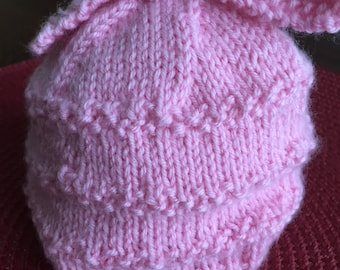 Handknit hat perfect for a  newborn baby