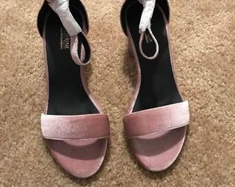 Velvet block heel sandal size 8.5