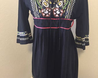 Vintage Embroidered Boho Black Dress with Embroidery