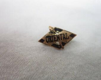 Antique Gold & Enamel Fraternal Pinback Oriental