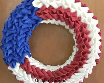 Burlap wreath,Patriotic Wreath,Petal Wreath,Swedish Braid Wreath,Memorial Day,July 4th, Red, White and Blue,Americana Wreath,Folded Burlap