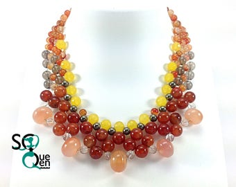 Natural gems - carnelian, Quartz and Pyrite necklace