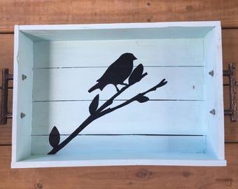 Hand painted bird tray