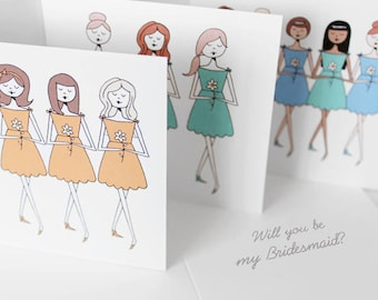 Will you be my Bridesmaid cards, Personalized bridesmaid cards, Choose Will you be my bridesmaid or Thank you for being my bridesmaid