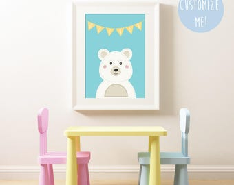 Polar Bear Bunting Name Nursery Print, Customize your own. Choose your own colour and name!
