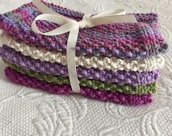 Set of 5 Handknitted Washcloths /Dishcloths 100% Cotton  Purple /Multi