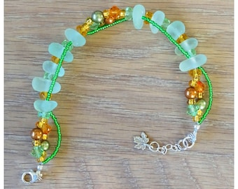 Green and copper sea glass bracelet