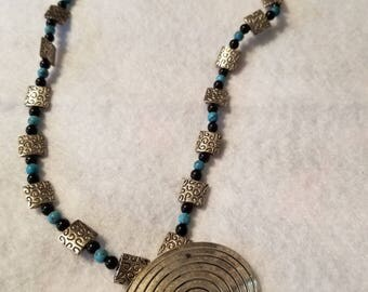 Silver tone medallion beaded necklace