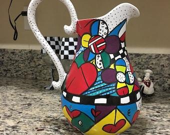 Romero Britto inspired hand painted pitcher