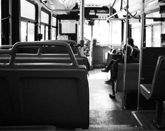 City Bus Photography Fine Art Print, City Life Photography, Minimalist Home Decor, Black and White City Photography Print