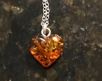 Prettiest Little Amber heart necklace **The perfect way to say I love you