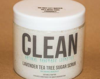 Clean Natural Handmade Cosmetics Lavender Tea Tree Sugar Scrub 240g