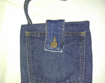 Upcycled denim pocket wristlet purse