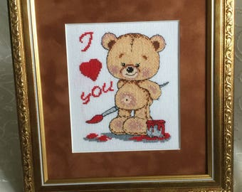 """Finished hand-embroidered picture called """"Bear-cub painted with watercolors"""" I love you"""""""""""