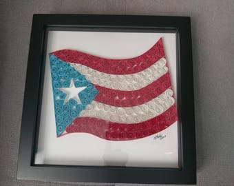 Puerto Rican Flag Art / Handmade / Decor / Design / Paper