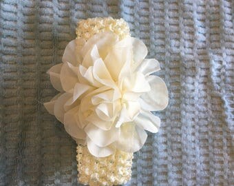 Infant/Toddler Ivory Crochet Floral Headband