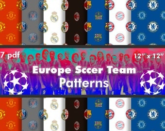 OFFER 80% Off SALE  Europe Soccer Teams  Digital Paper Pack Part 1