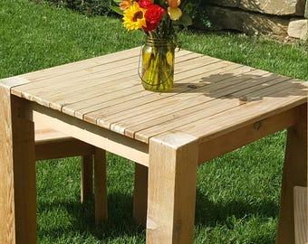 Handmade cedar patio table and stools