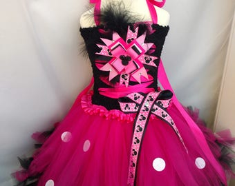Minnie Mouse pink baby girl tutu set dress hair bow birthday party outfit costume photo prop