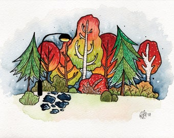 Autumn Forest Watercolour Painting Print