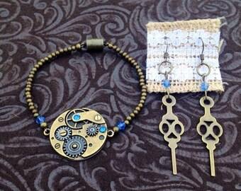 Steampunk Crystal Time Double Sided Bracelet & Earring Set