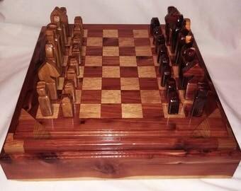 Beautiful Extra Large Cedar and Oak wood Chess Board / Chess Set