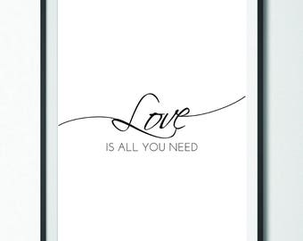 Love Is All You Need //  Love // Beatles // Wall Art // Art Print // Home Decor // Instant Download // Wall Hanging // Bedroom Decor