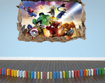 Lego Avengers Kids Smashed Wall Sticker Decal Boys Girls Bedroom Stickers XL 70cm x 100cm