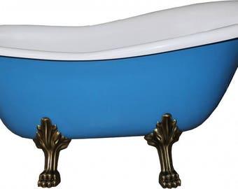 Free-standing luxury bathtub Roma light blue/white/old gold Art Nouveau 1470 mm - Baroque bathroom - Mod1