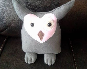 Handmade stuffed Gray and Pink Owl