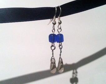 Blue and Gray Teardrop Earrings #001