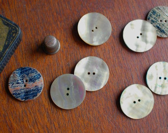 1 round mother of pearl buttons, natural shell round buttons 35mm or 1 3/8 inches in iridiscent white