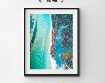 Australia from Above Photo Print, Melbourne Print, Lake's Entrance Print, Ocean Print, Nature Photo Print, Large Wall Print, Home Decor