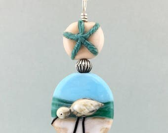 Lampwork Sandpiper with Starfish Necklace