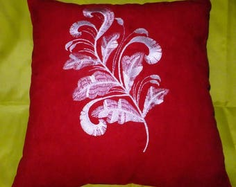 Decorative pillow, Decorated pillow embroidery, red pillow.