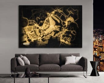 BRASILIA Brazil Night Lights Map Large Horizontal Wall Art Map Brasília Brazil Modern Art Neon City Street Map of Brasília NLM