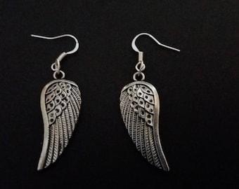 Silver Angel Wing Dangle Earrings